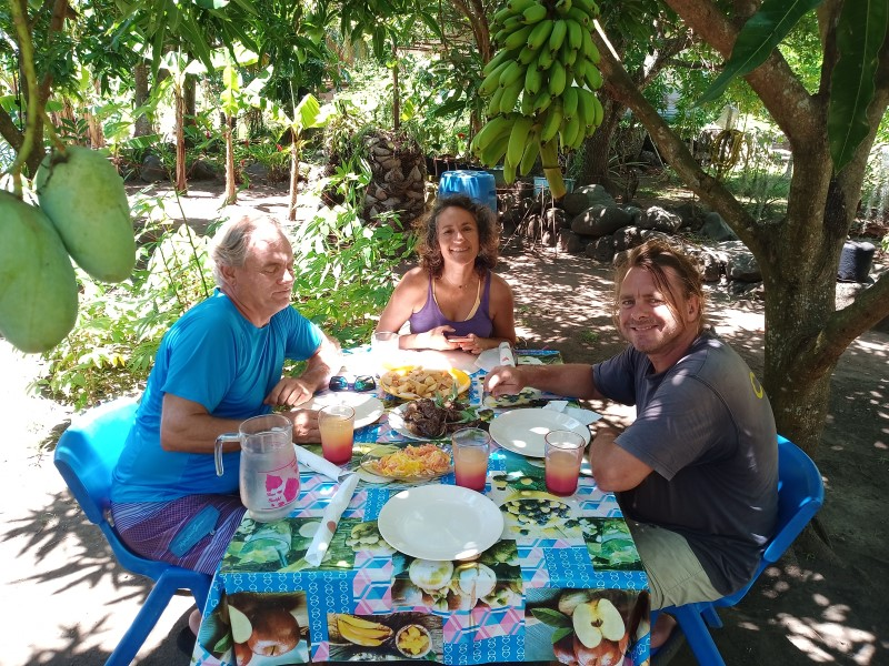 Local lunch under the fruit trees