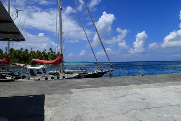 At the dock in the pass of Katiu